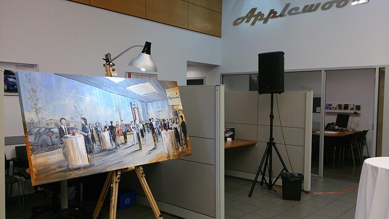 unique event entertainment - live painting for applewood nissan, impressions live art