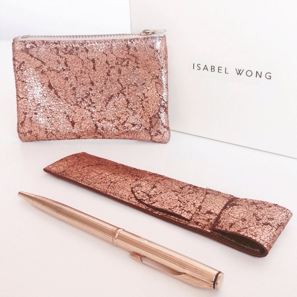 Rose Gold Foiled Leather Duo
