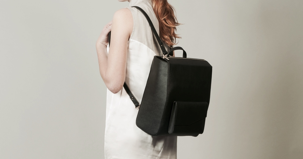 Isabel Wong x Urban Travel Black Leather Backpack