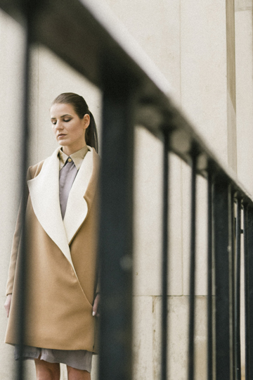 Isabel Wong Contour Camel Wool Coat