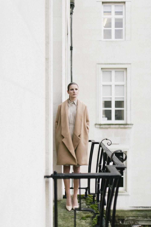Isabel Wong Cascade Melton Wool Long Lapel and Collar Coat in Camel