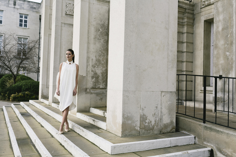 Isabel Wong Campaign Journey Collection 'Memorie' White Georgette Draped Asymmetric Dress