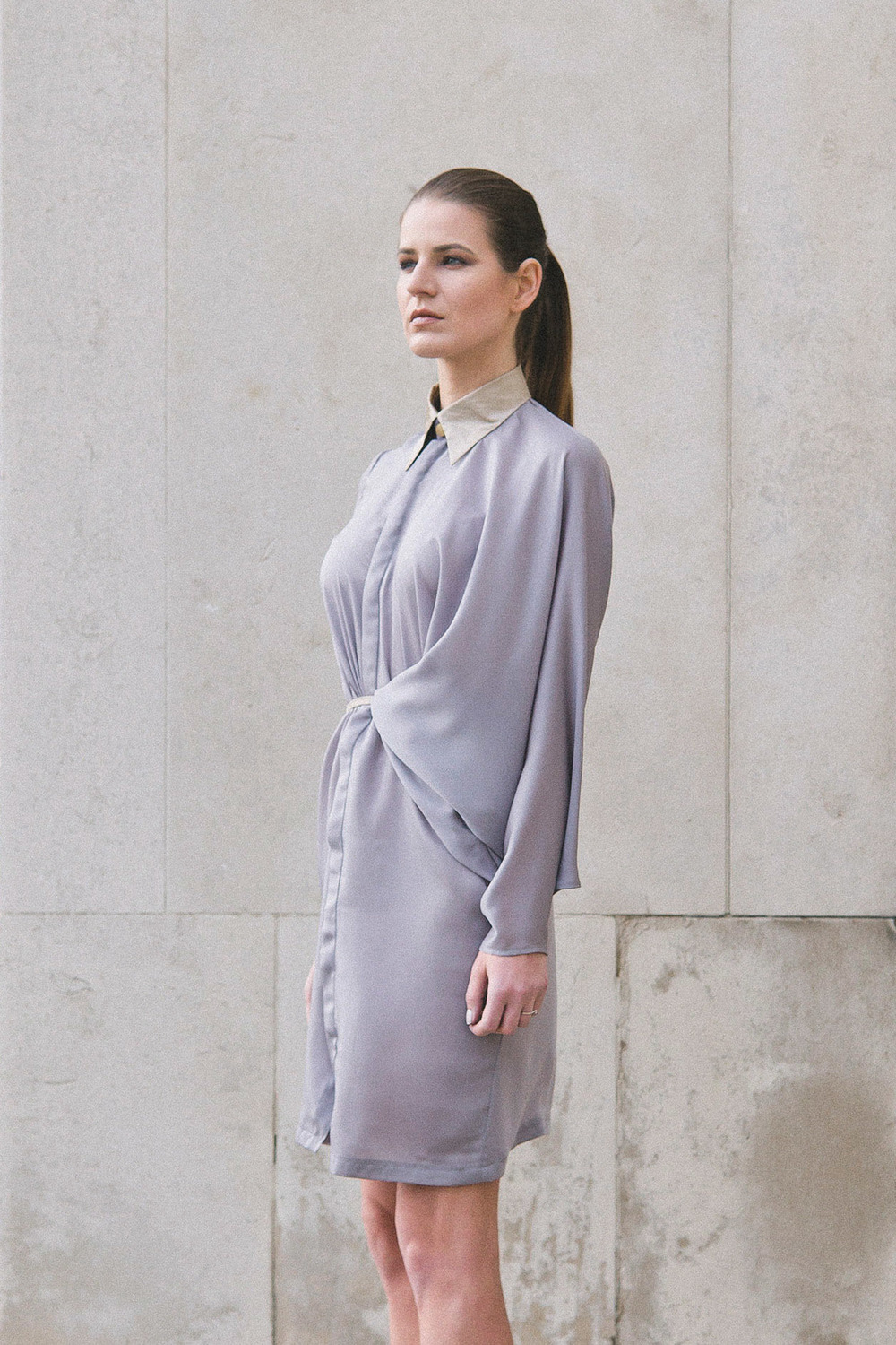 Isabel Wong Vestige Asymmetric Draped Front Purple Musk Silk Shirt Dress with Gold Rubber Coated Collar and Concealed Button Placket Stand