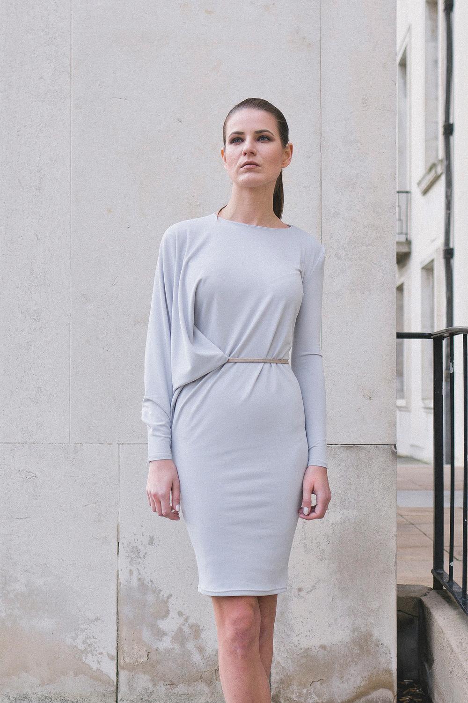 Isabel Wong Evolve Dress in Light Blue Jersey - Asymmetric Front Drape