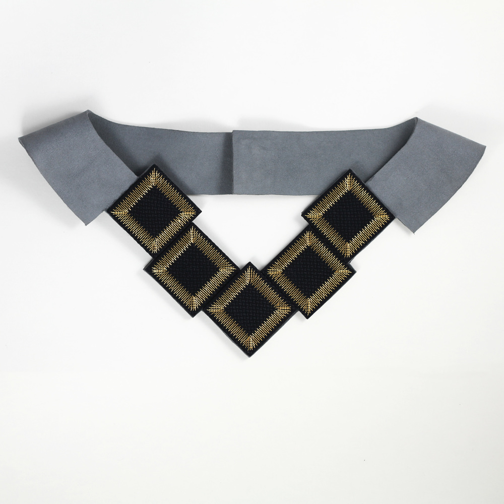 Kosmos-Collection-Isabel-Wong-Black-Silk-Petrol-Blue-Suede-Gold-Metal-Bib-Necklace-Sequence.JPG