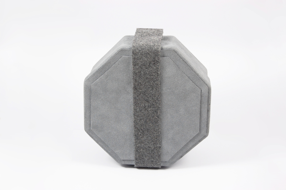 Bespoke Blue Suede and Grey Wool Strap Octagon Clutch Bag With Silver Magnetic Clasp.jpg