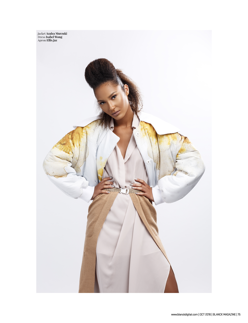 BLANCK Magazine Issue 8 75 Isabel Wong Maxi Shirt Dress - @blanckdigital -Stylist @ihunnamatata - Photographer @mcmlondon - MUA @neon velvet - Hair @bkllondon - model @Jemilla_king.png