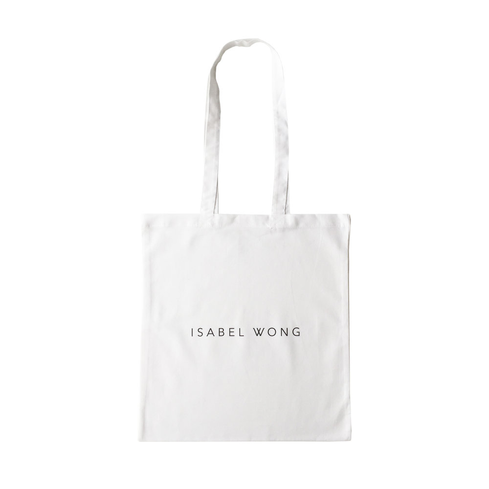 Isabel Wong White Cotton Tote Bag Black Text Logo.jpg