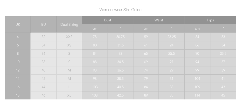 *Womenswear Size Guide - Measurements shown are body measurements and not the measurements of the garments