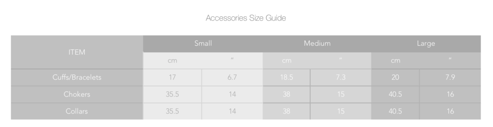 *Accessories size guide - measurements shown are the actual measurements of the accessories. You will need to get a size that is bigger than your measurement. For example, if your wrist measures 17cm, you will need to get a medium. If your wrist measures 16cm, you will want to get a small.
