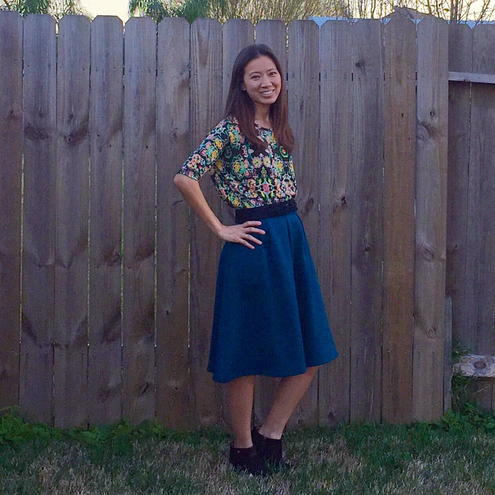 Dressed up irma tunic tucked into a skirt (non-lularoe).