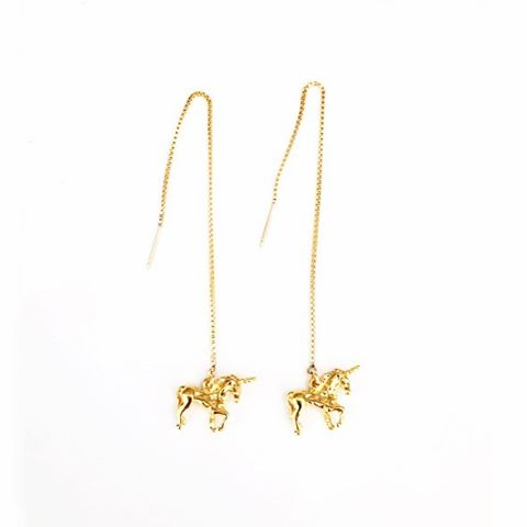 Our little unicorns 🦄 🦄 are back!  In both solid sterling silver & gold plate #shesaunicorn #dropearrings