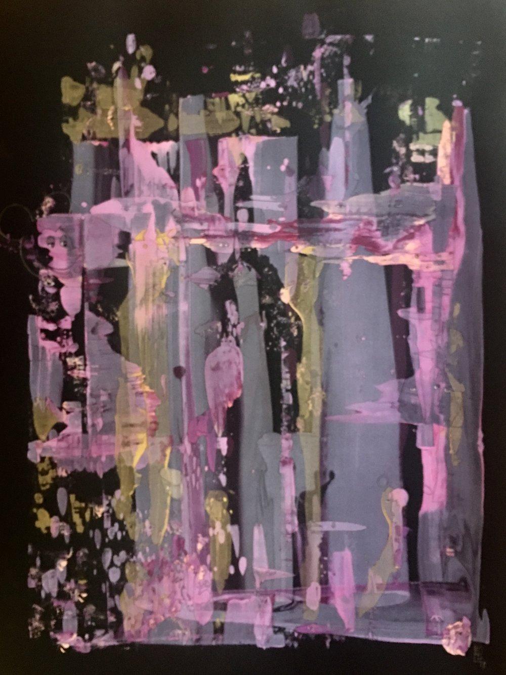 "Yelena Lezhen, 'Pink Utopia', Acrylic and Ink on Paper, 30x22"", 2018"