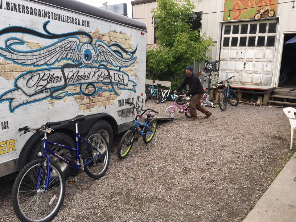Loading up the 30 kids bikes we tuned up into Flash's (of Bikers Against Bullies USA) trailer.