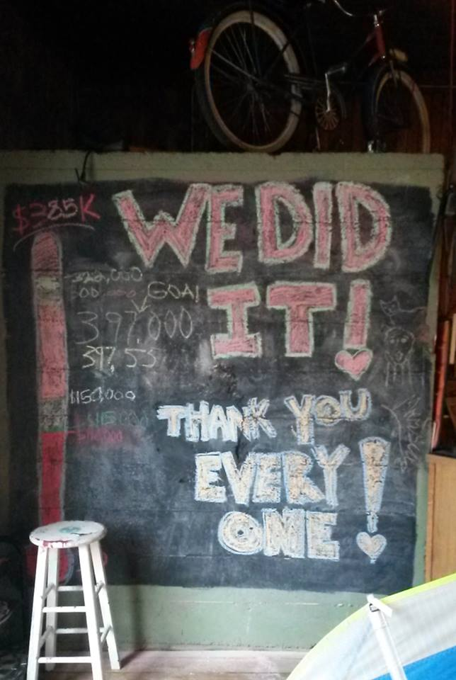 This chalkboard acted as a meter for fund-raising progress.