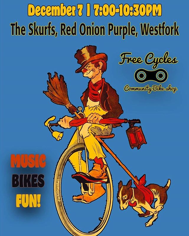 Come down to Free Cycles this Friday, 12.7! Asking for a $5 donation at the door, but no one turned away for lack of funds. Music, drinks, food, fun, bicycles! Featuring The Skurfs, Red Onion Purple, West Fork, and Motorhome. We will be serving mugs of Sweet Peaks ice cream as well some 🍻 from Upslope Brewing. @westforkmusic @motorhome_music  All proceeds go to supporting Youth Cycles. Through education and engagement, Youth Cycles encourages children in Missoula and Montana to ride bikes safely, courteously, legally, and more frequently. Youth Cycles encompasses the vast amount work that Free Cycles does with youth. Annually the program serves approximately 700 youth each year. Of this number, approximately 75% of these kids are low-income. Currently kids ten and under can receive a free bicycle anytime our community shop is open, Tuesday through Saturday from 10am to 6pm. Kids ages 11-14 can earn a bicycle by taking a one hour class and volunteering two service hours at our shop. Anyone 15 and over is required to complete the class and contribute four service hours. #missoula #montana #localmusic #freecycles #fundraiser #goodtimes #goodtunes #dancing #theskurfs #westfork #redonionpurple #motorhome #communitybikeshop