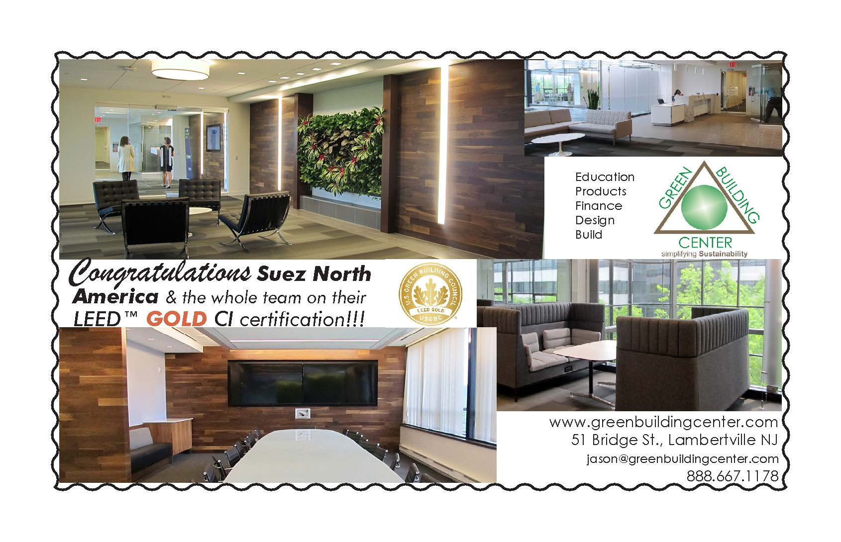 Visioning With A Sustainable Community As We Congratulate Suez North America On Their LEED Gold Certified Commericial Interior Corporate Headquarters