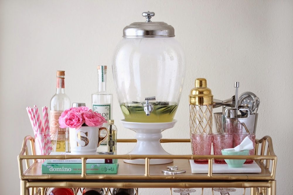 A well-appointed bar cart by Gingersnap Jordan