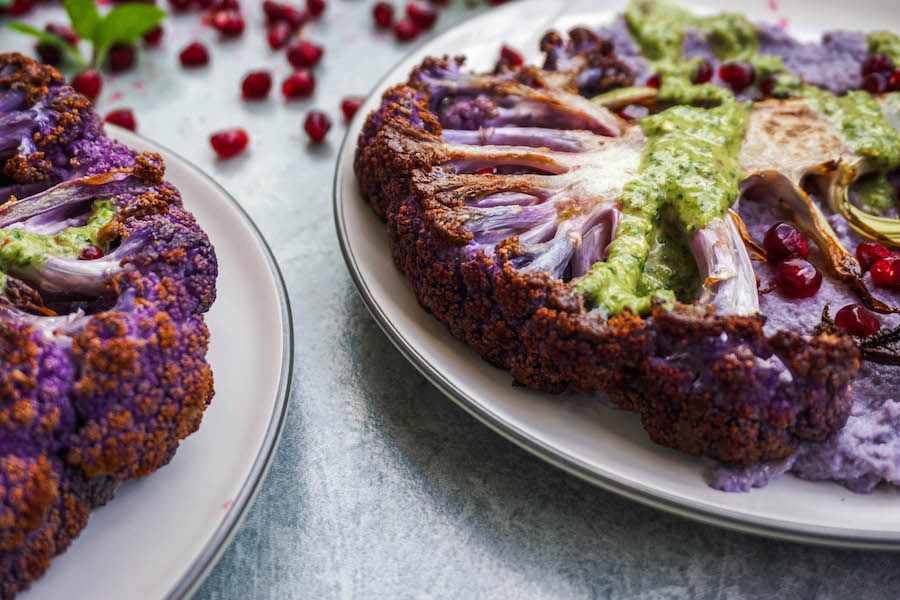 Purple Cauliflower Steaks with Mint Chutney and Pomegranate | Sproutly Stories