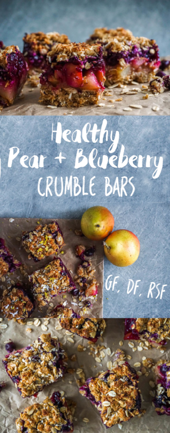 Pinterest Pear + Blueberry Crumble Bars
