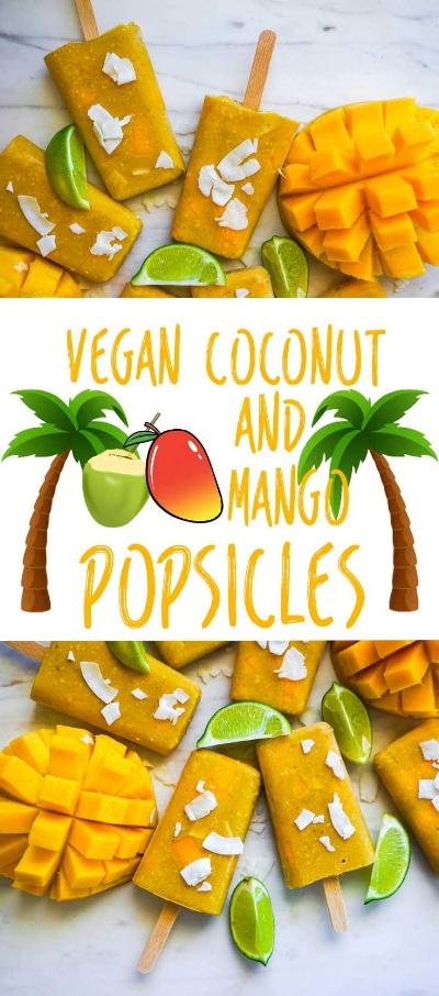 Vegan Coconut & Mango Popsicles | Dairy Free Ice Cream