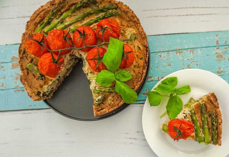 Asparagus Roast Tomato Tofu Quiche | Savoury Recipes | Sproutly Stories