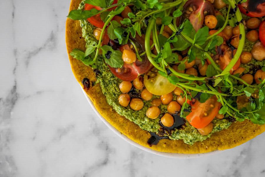 Socca Flatbread with Creamy Pesto and Roasted Chickpeas | Savoury Recipes | Sproutly Stories