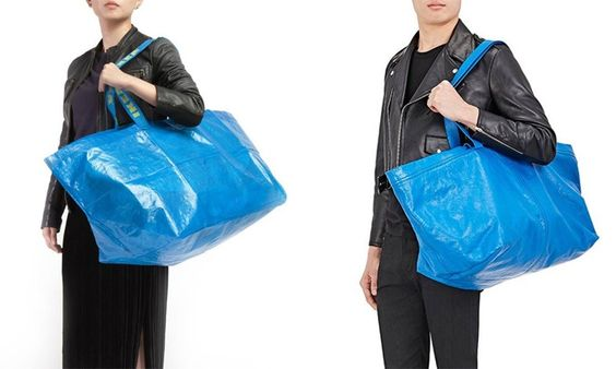 Ikea's Frakta bag shown next to Balenciaga SS17 Mens bag.