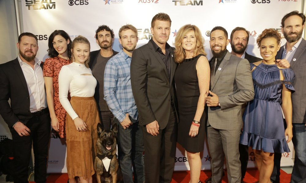 Los Angeles Season Premiere & Meet & Greet with the cast of SEAL Team   Academy of United States Veterans and Blue Star Families hosted the season premiere of CBS' hit series, SEAL Team. David Boreanaz and the entire cast of SEAL Team arrived in Hollywood for a special meet & greet and screening of the first episode of the seasons 2. The evening started with red carpet arrivals followed by a screening and Q & A. The cast stayed well into the evening after the screening to mingle and spend time with our veterans.