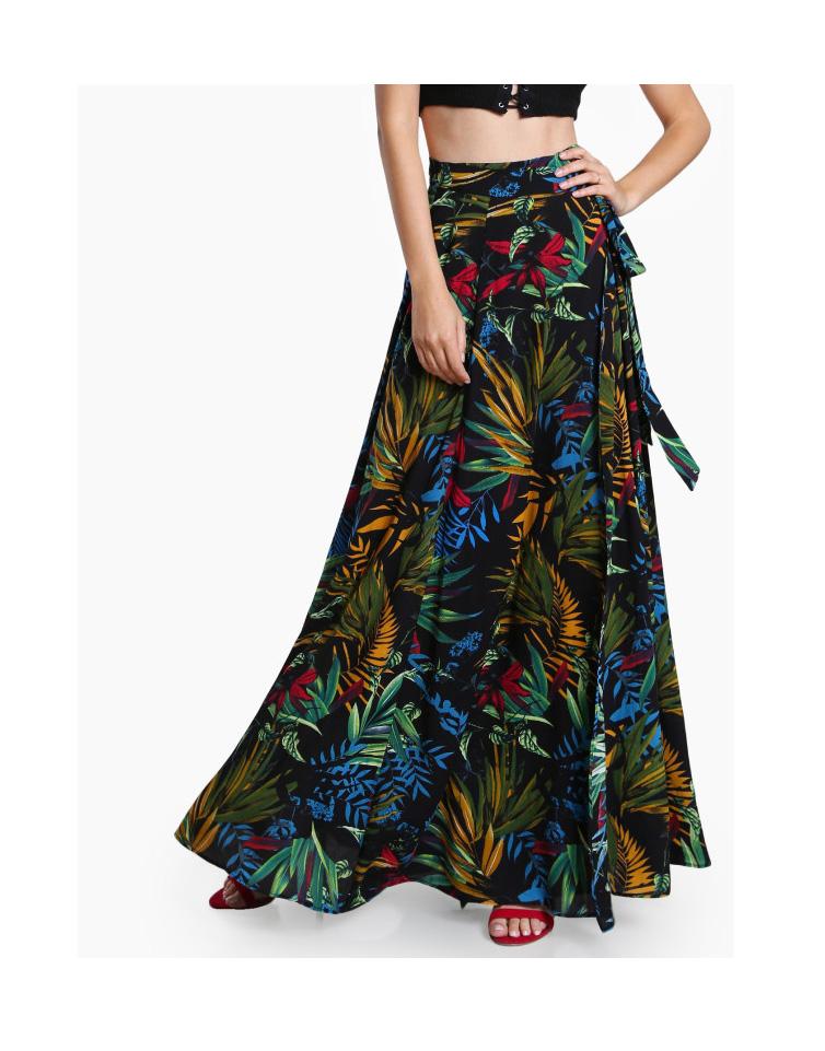 Tropical Print Self Tie Wrap Skirt