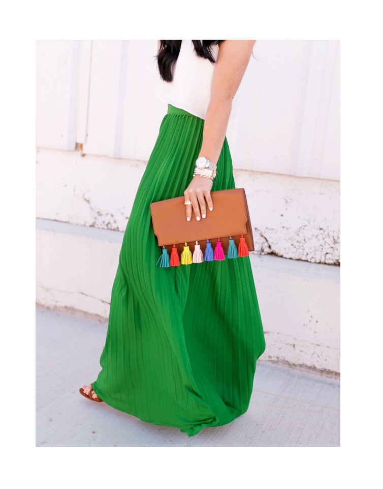 High Waist Pleated Longline Skirt