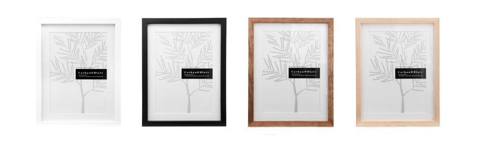 a4 frame including white mount $50 inc gst                              A3 FRAME INCLUDING WHITE MOUNT $75 INC GST                four colours AVAILABLE  white  black   walnut   natural