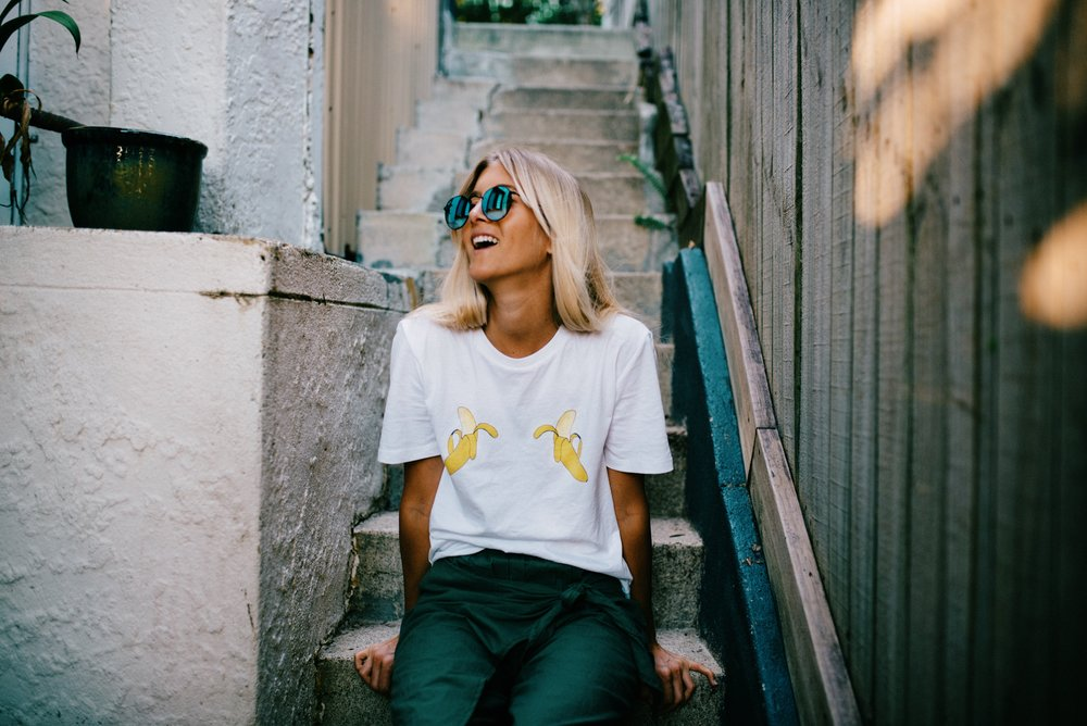 Banana tee- I am wearing size x-small. CLICK HERE TO GET ONE