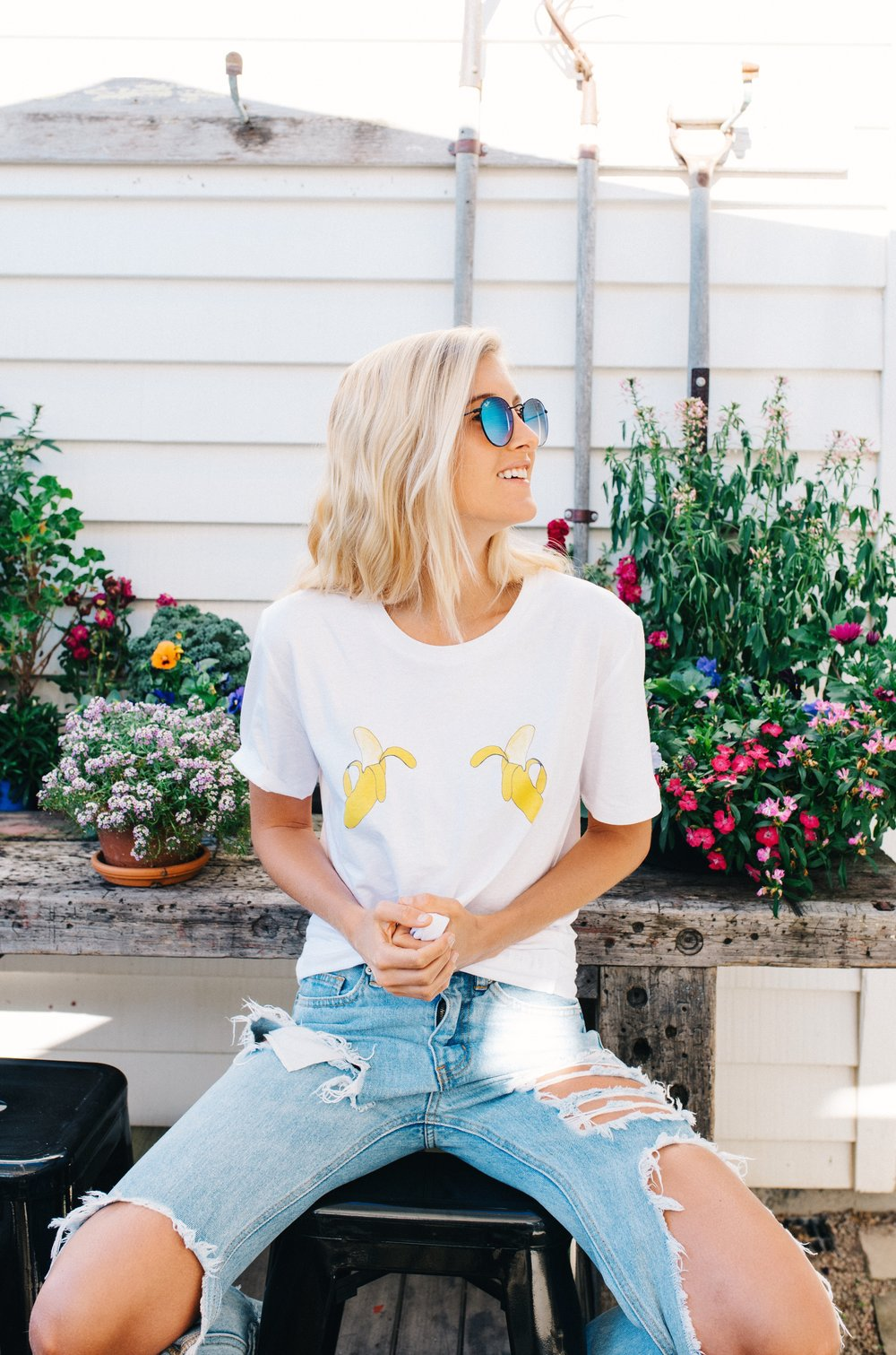 Banana tee- I am wearing size x-small. CLICK HERE TO PURCHASE