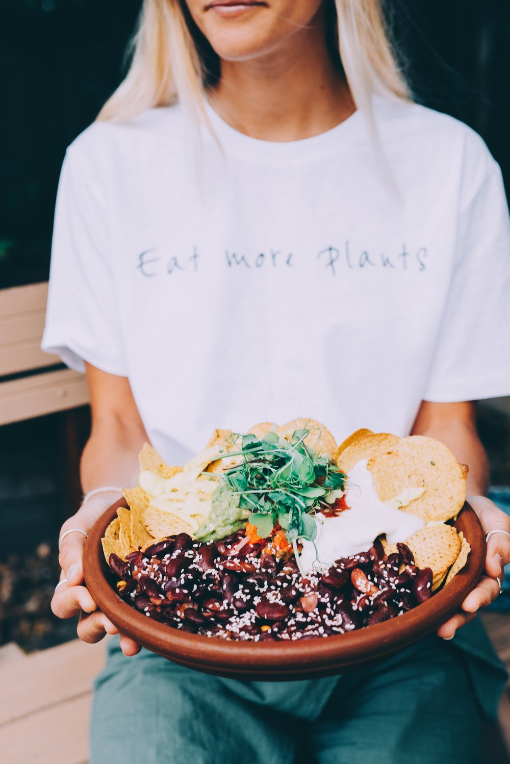 Eat more plants tee, I am wearing size XS. CLICK HERE TO PURCHASE