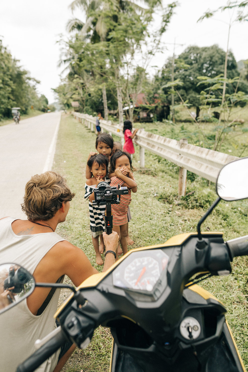 Jack filming the kids of the Philippines