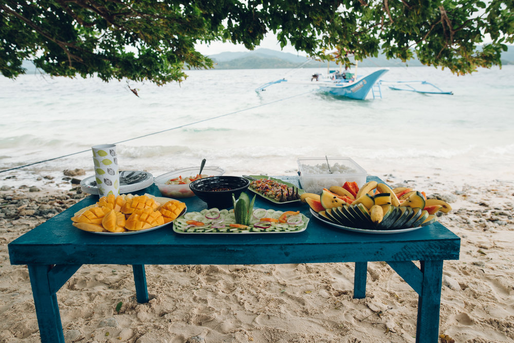 Lunch served on the beach during our boat tour (all this for 4 people!!)