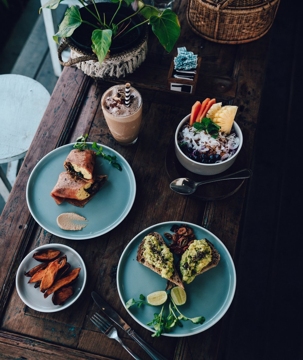 Breakfast at the Shady Shack: start up smoothie, smoothie bowl, breakfast burrito, avo toast and a side of sweet potato skins
