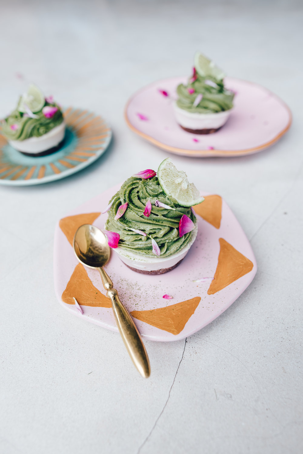 My Matcha Vanilla Swirl Raw Cupcakes, a featured dish at Peloton, designed and created by me.