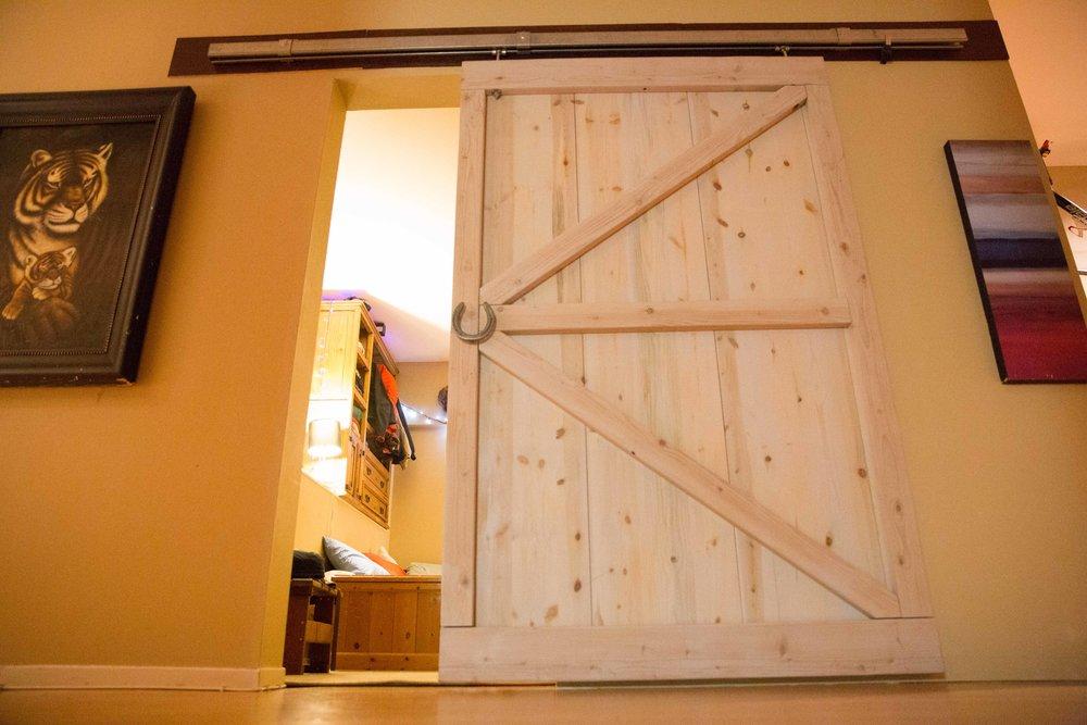 Barn Door - that I built to create a new bedroom