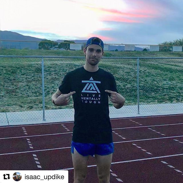 "Elite attitude. #Repost @isaac_updike with @get_repost ・・・ ""Live Mentally Tough"". This has easily become my favorite workout shirt. Keeping me honest in those long track workouts."
