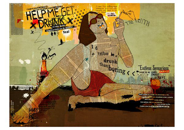 """Bebedo"" 120x90cm Digital Kunst 2010 1,800.-"