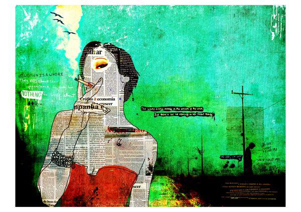 """Fumadora"" 180x135cms Digitale Kunst 2010 3,500.-"