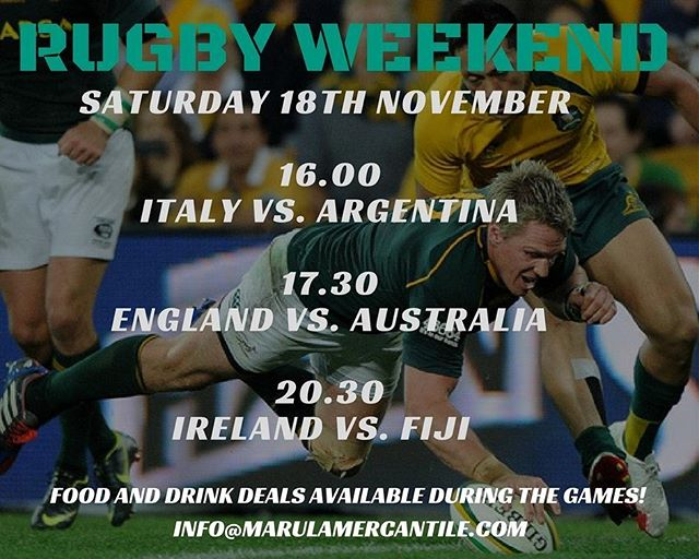 Unmissable Rugby action this weekend at Marula Mercantile. Delicious specials available alongside our normal menu. 🏈🏈🏈🏈