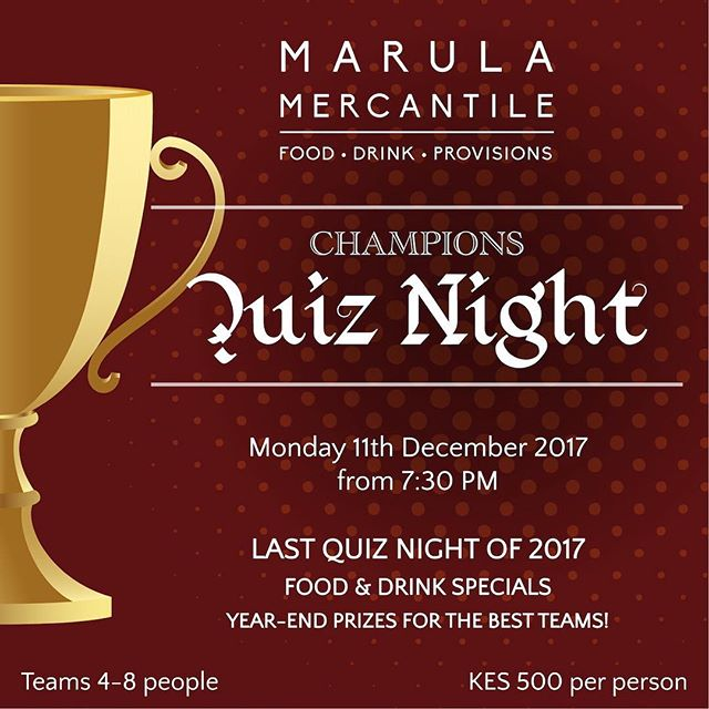 Last quiz night of the year! Come join us next Monday. Tuesday is a day off, so there may be games afoot...