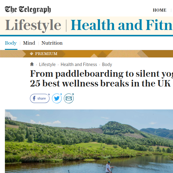 Telegraph   Top 25 Wellness  Breaks, June 2018