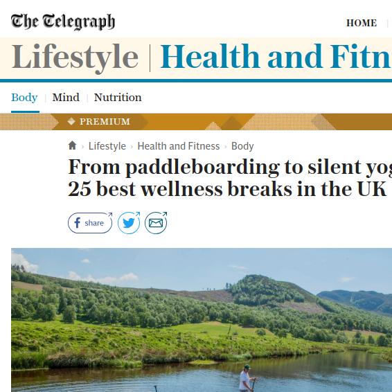 Telegraph   Top 25 Wellness  Breaks, June 2018