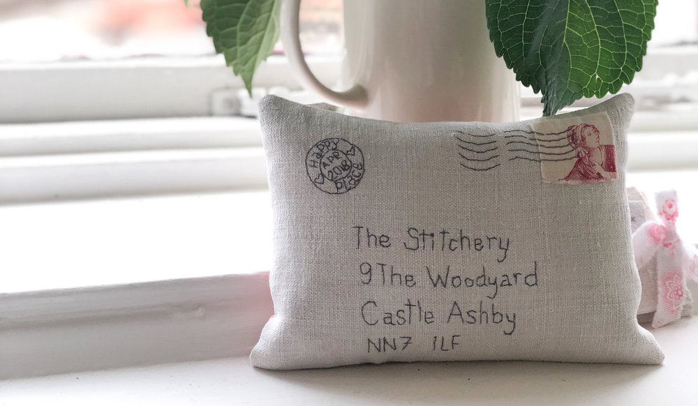 My gorgeous stitched letter from my friend Penny at   The Embroidery Bird.    These are available to commission as wedding/new home gifts or any other special occasion.  Plump with fragrant lavender and stitched onto antique linen.  Heart eyes!
