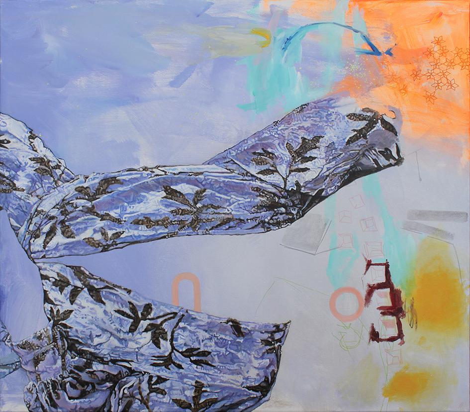 """""""purple sleeve"""". Acryl auf Leinwand. 80 x 70cm. 2018"""