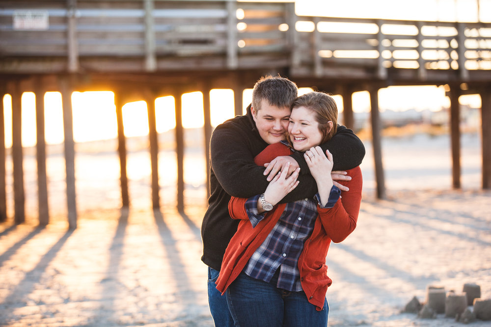 Ocean City New Jersey Beach Engagement Session Golden Hour Sunset Fall